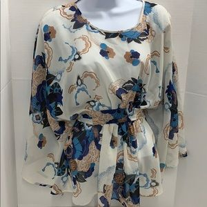 Tramp Blouse Sheer Floral Batwing Sleeves size S